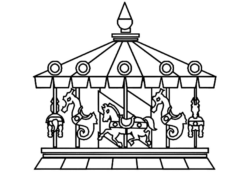 addition Carousel Horses Coloring Pages AZ Coloring Pages in addition ...