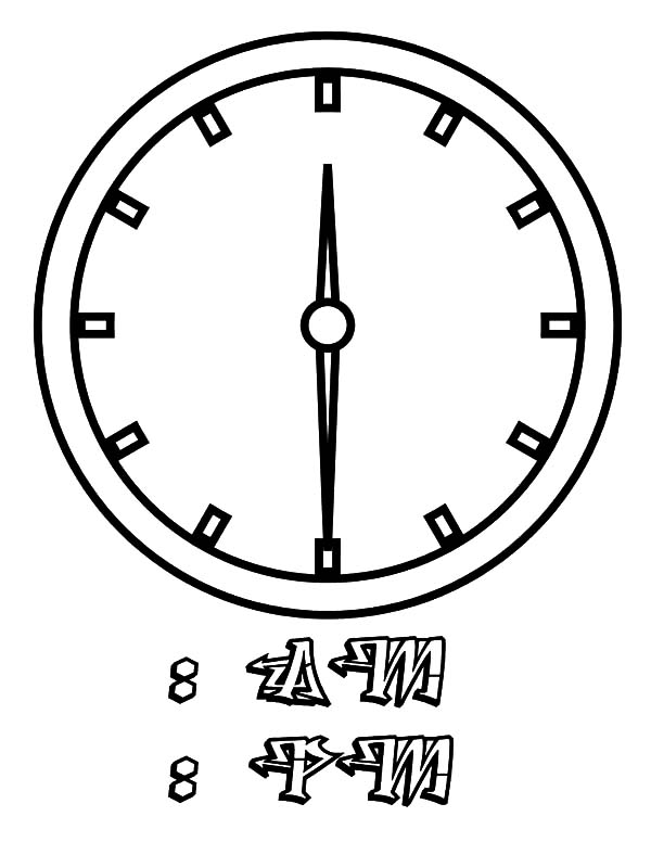 Clock, : Picture of Clock Coloring Pages