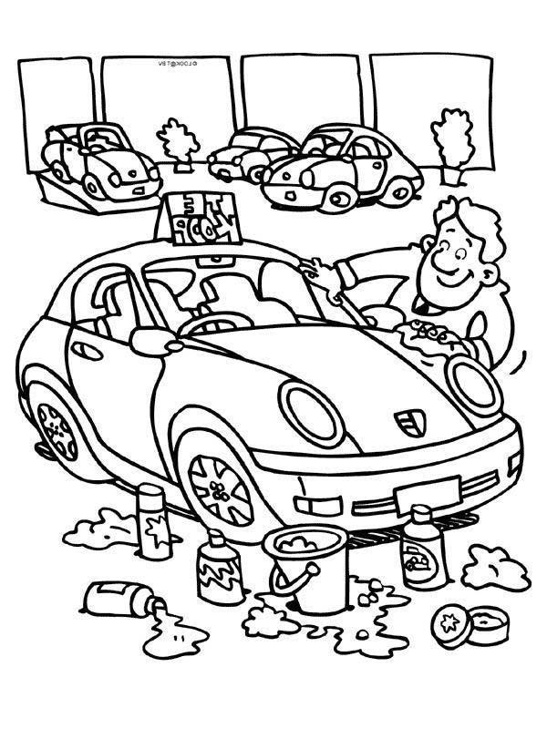 Car Wash, : Polishing Atfer Car Wash Coloring Pages