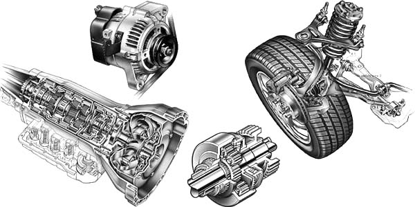 Car Parts, : Car Parts Cutaway Illustration Samples