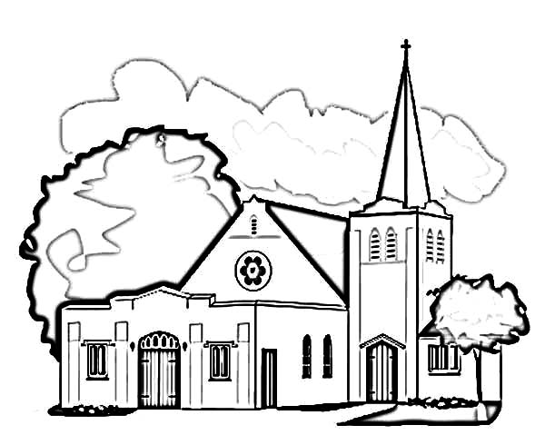Praying at church coloring pages