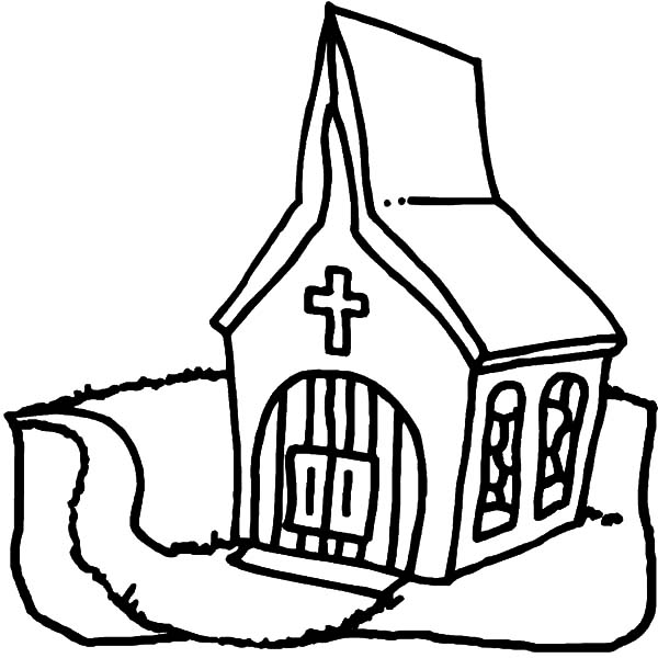 Church, : Preschool Kids Church Coloring Pages