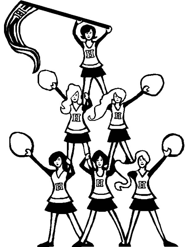 Cheerleader, : Pyramid of Cheerleader Coloring Pages
