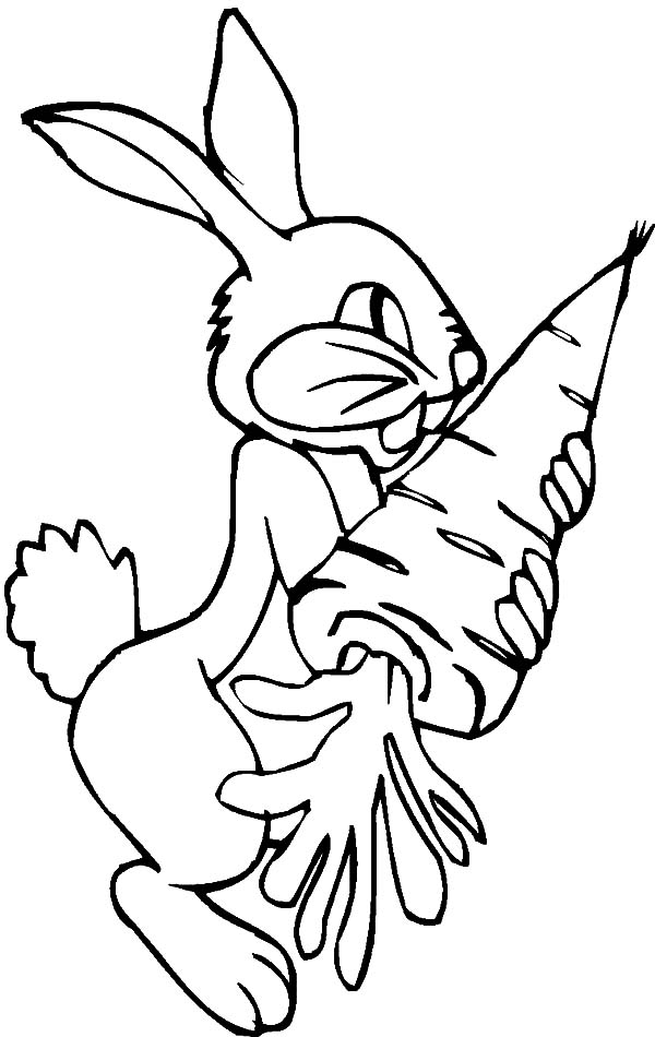 Rabbit Favorite Food Carrot Coloring Pages