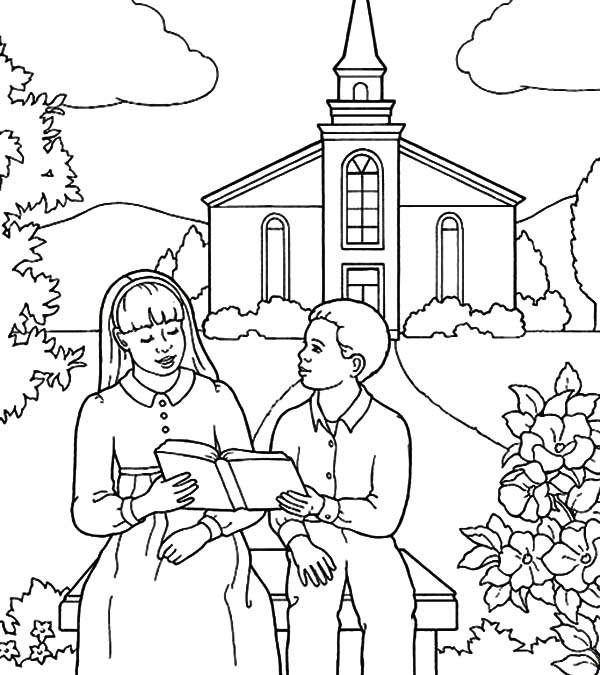 Coloring pages printable going church coloring best free for Church coloring pages printable