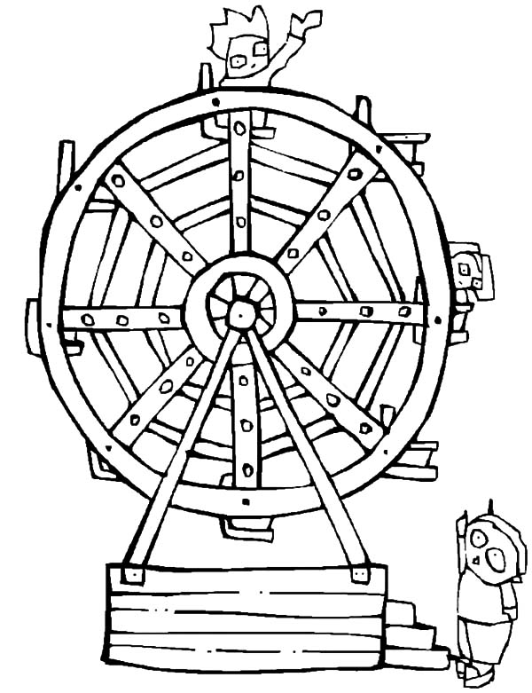 Carnival, : Ride Ferris Wheel at Carnival Coloring Pages