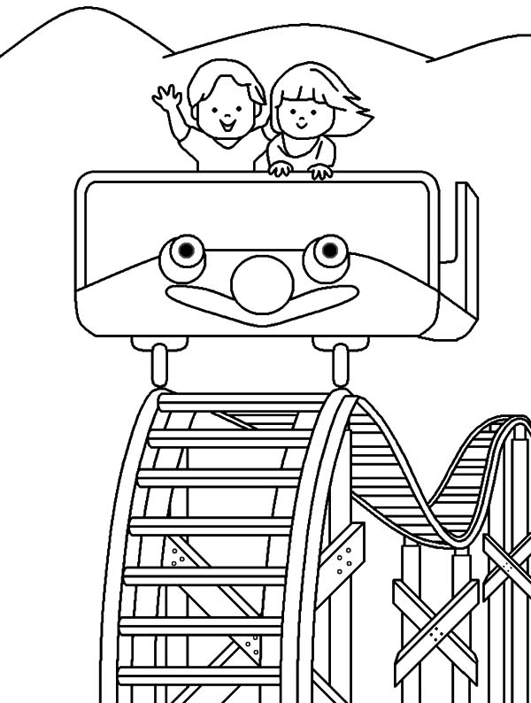 Carnival, : Roller Coaster Carnival Coloring Pages
