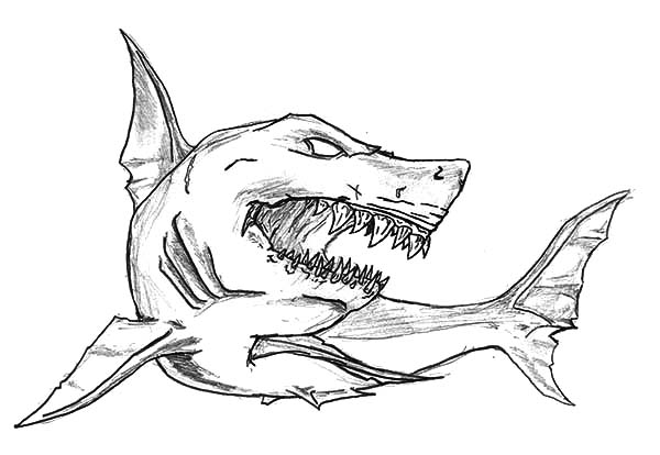 Shark Jaws Sketch Coloring Pages