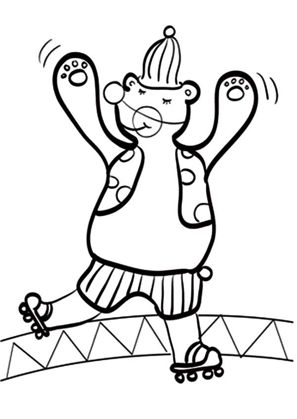 Circus Bear, : Skating Circus Bear Coloring Pages