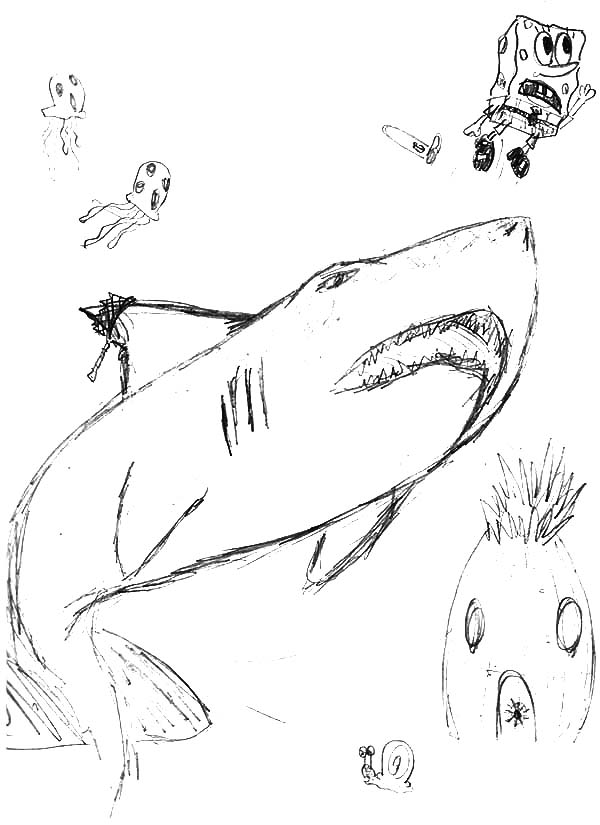 Jaws, : Sketch of Jaws and Spongebob Coloring Pages