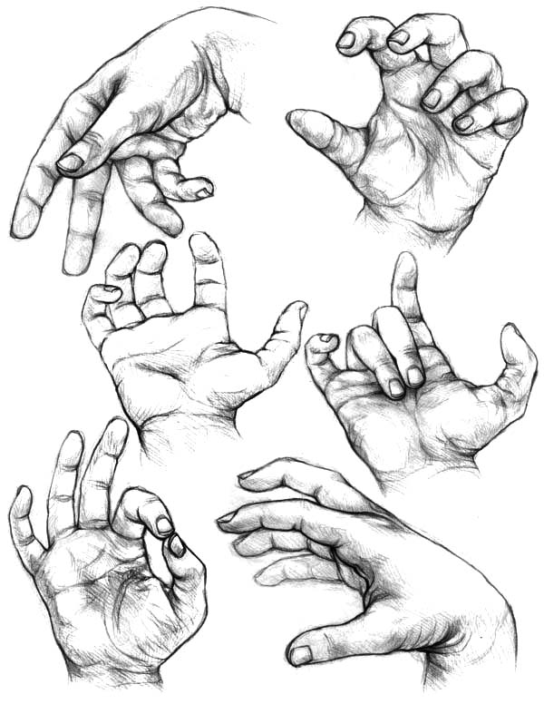 Hands, : Sketching Hands Move Coloring Pages