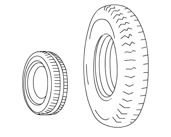 car tire small and big car tire coloring pages - Big And Small Coloring Pages