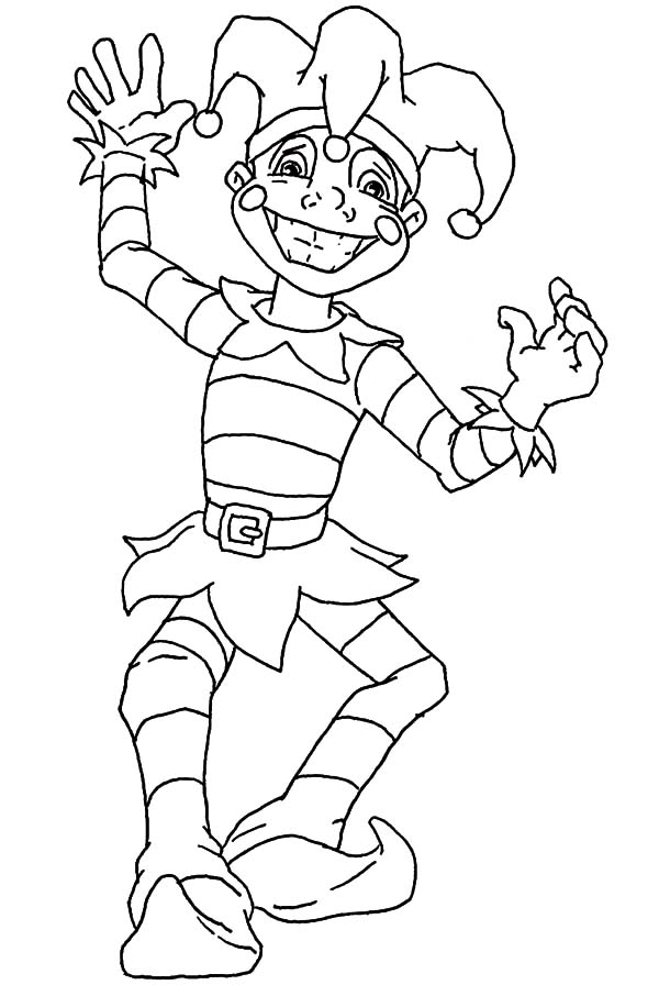 Carnival, : Smiling Carnival Clown Coloring Pages