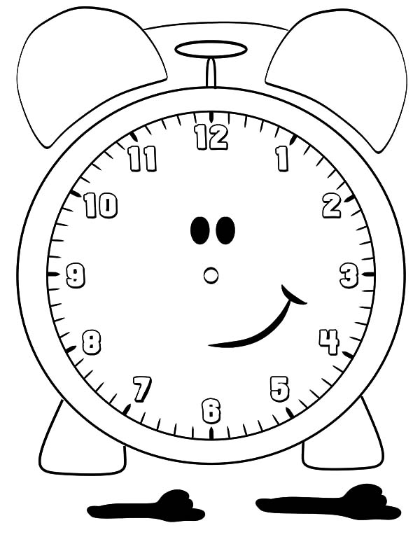 Clock, : Smiling Clock Coloring Pages