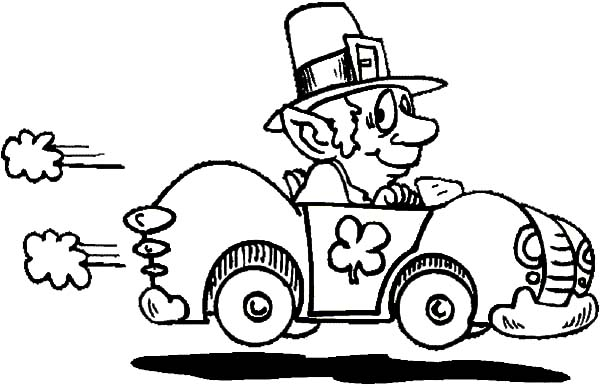 St Patricks Day Car Driving Coloring Pages