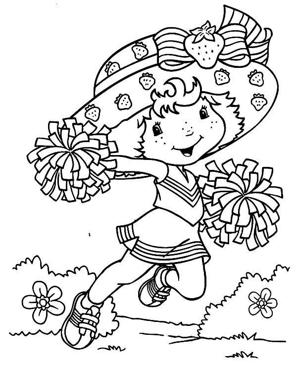 Cheerleader, : Strawberry Shortcake Cheerleader Coloring Pages