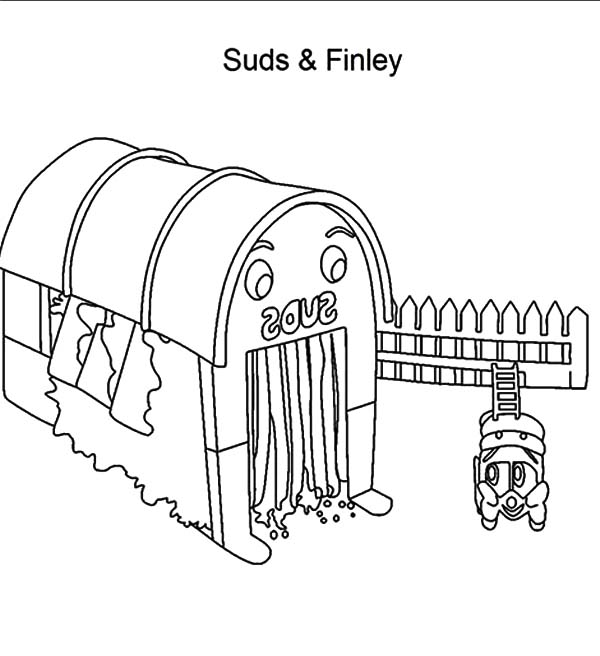 Car Wash, : Suds and Finley Car Wash Coloring Pages