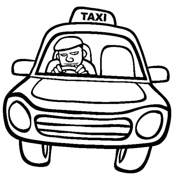 Car Driving, : Taxi Driver Driving Car Coloring Pages