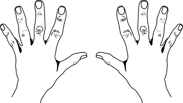 Hands, : Ten Finger Hands Coloring Pages