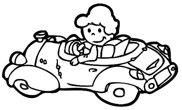 The Girl Driving Car Coloring Pages