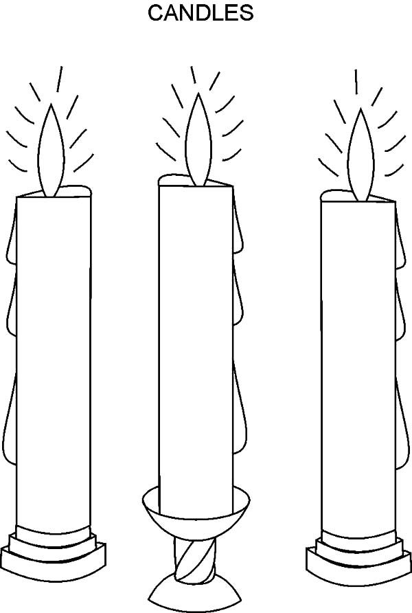 Candle, : Three Candle Coloring Pages