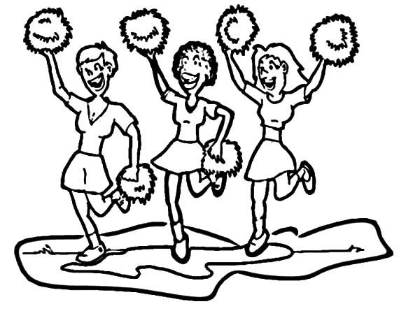 Cheerleader, : Three Cheerleader Coloring Pages