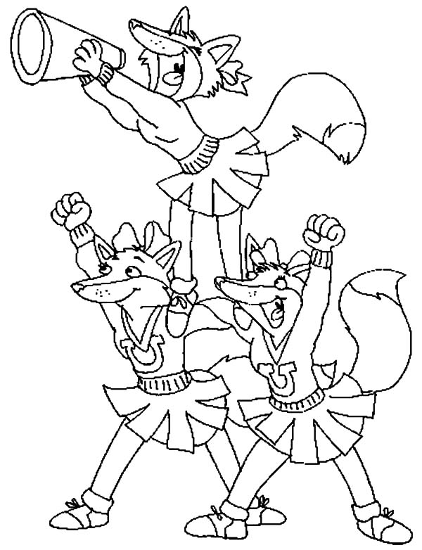 Cheerleader, : Three Fox Cheerleader Coloring Pages