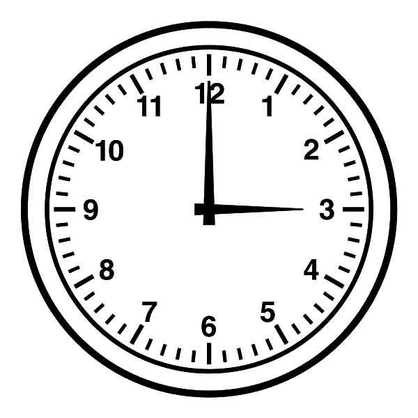 Clock, : Three O'Clock Coloring Pages