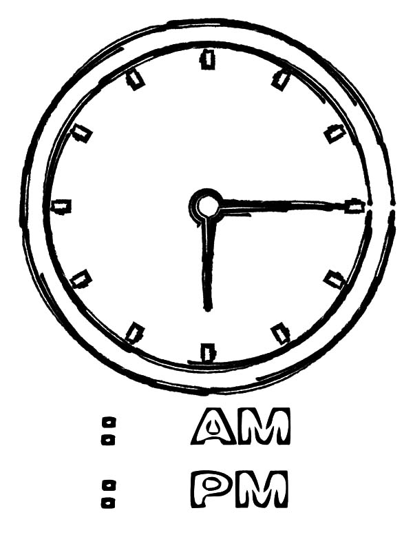 Clock, : Time Clock Coloring Pages