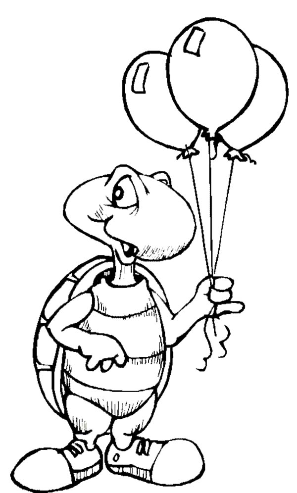 Birthday Balloons, : Turtle Holding Balloons Coloring Pages