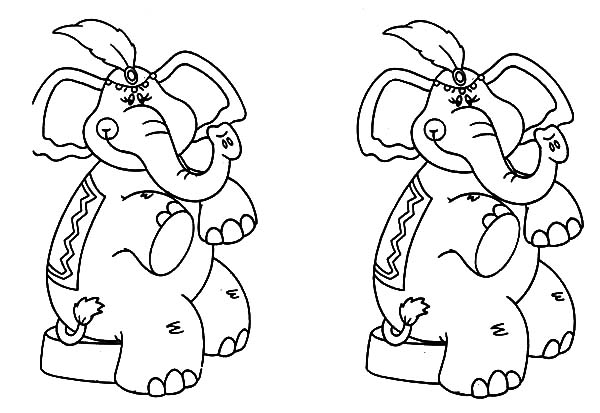 Circus Elephant, : Twin Circus Elephant Coloring Pages