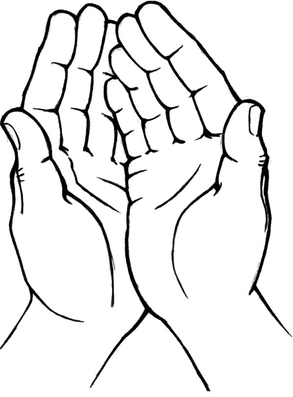 Hands, : Two Hands One Heart Coloring Pages