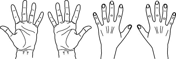 two pair of hands coloring pages - Hand Coloring Page