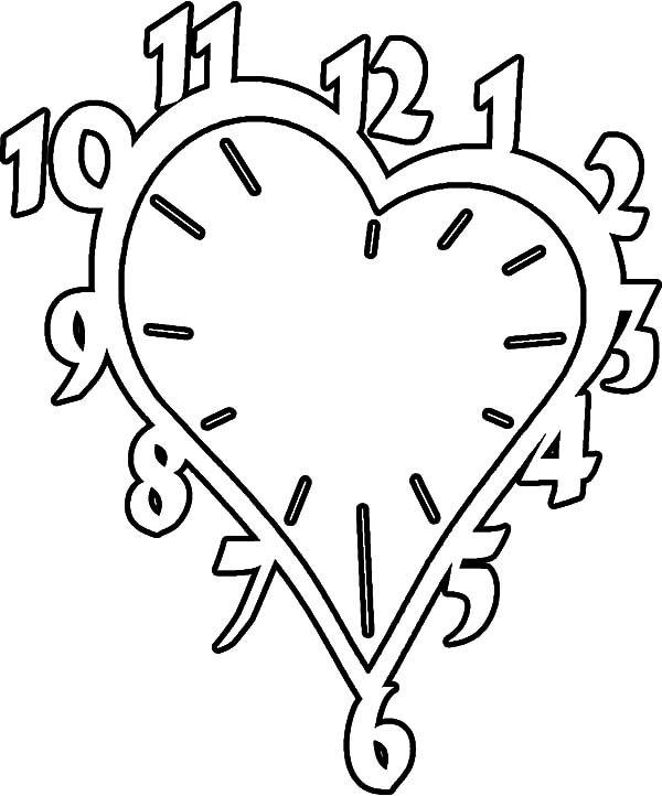 Clock, : Valentines Heart Shaped Clock Coloring Pages