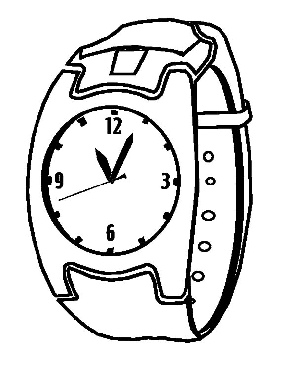 Clock, : Watch Clock Coloring Pages