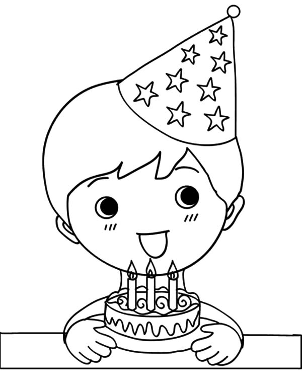 Birthday Boy, : Wide Smile Birthday Boy Coloring Pages