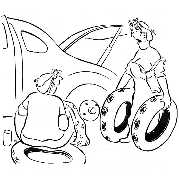 Car Tire, : Wife Helping Her Husband Changing Flat Car Tire Coloring Pages