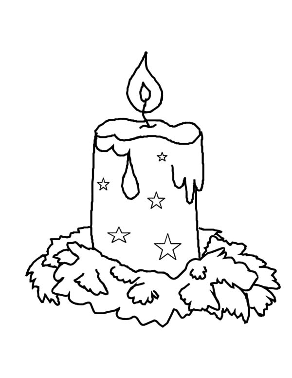 Candle, : Xmas Candle Coloring Pages
