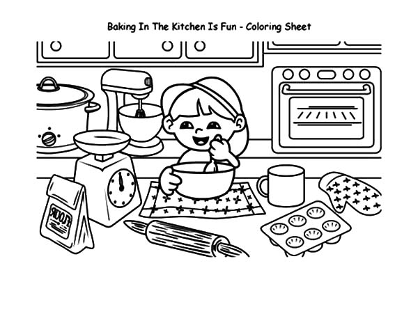 baked treats coloring pages | Baking Cookies In The Kitchen Is Fun Coloring Pages : Best ...