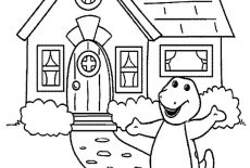 barney coloring pages house   Barney Playing With Kids On Sunny Day Coloring Pages ...