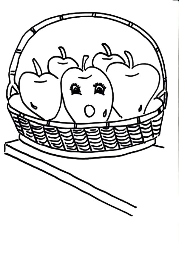 One Surprised Apple In The Apple Basket Coloring Pages