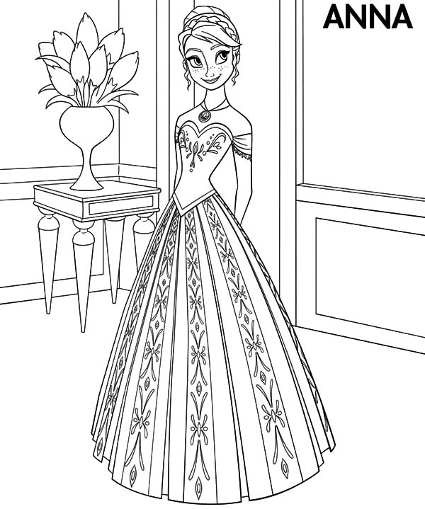 Princess Anna Wear Beautiful Dress Coloring Pages Best