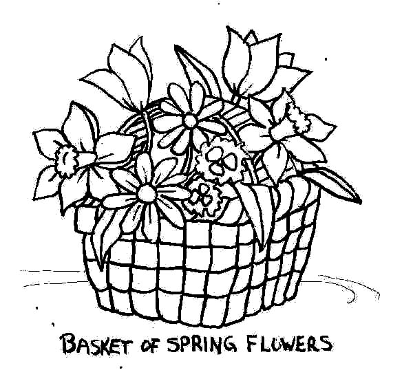 Put Spring Flowers In Basket Of Flowers Coloring Pages