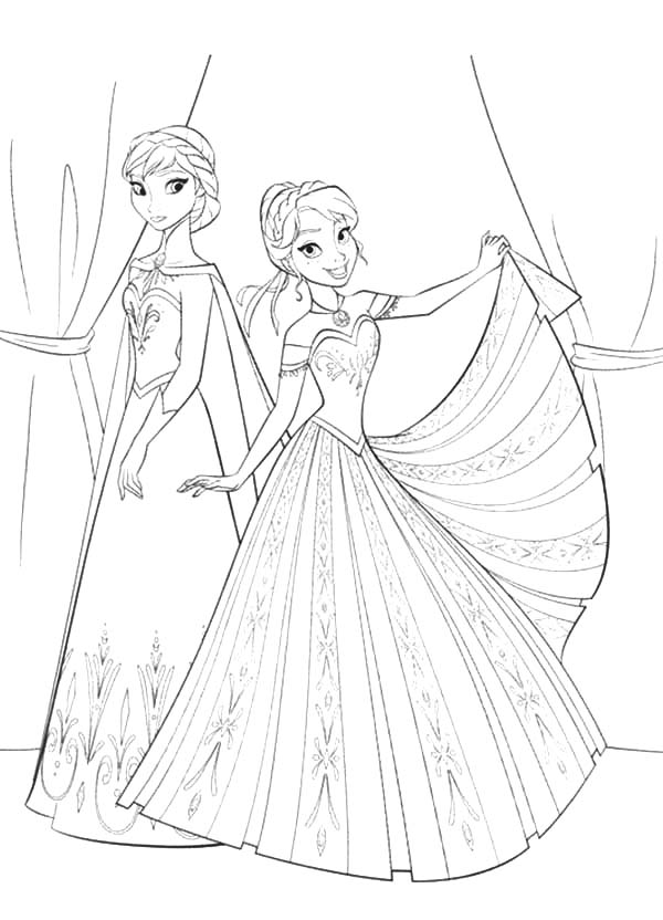 Queen Elsa And Princess Anna Is Going To Party Coloring ...