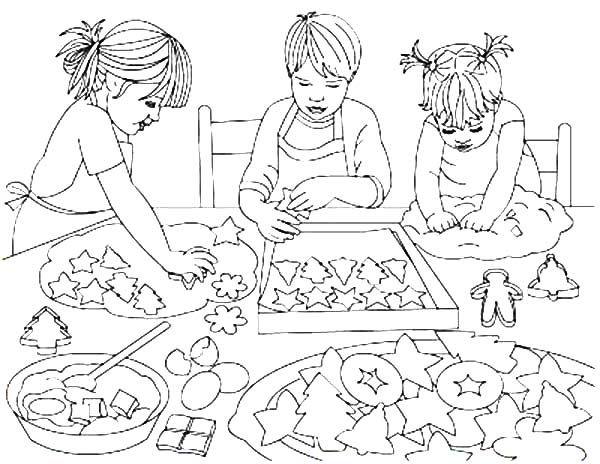 baked treats coloring pages | Three Kids Baking Cookies Coloring Pages : Best Place to Color