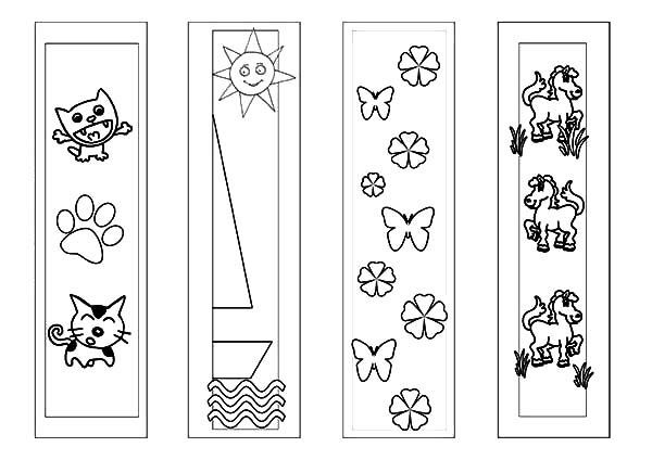 Animals Bookmarks Coloring Pages