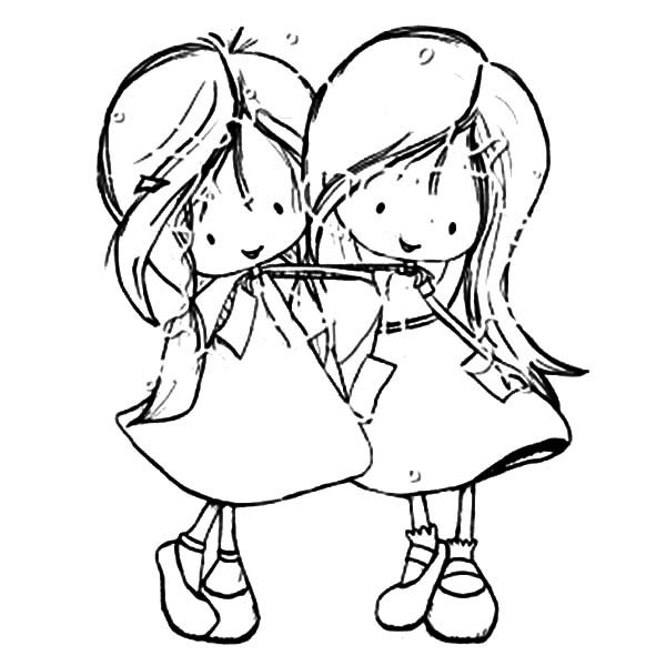 Best Friends Two Little Girl Coloring Pages
