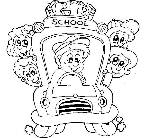 Driving coloring pages ~ Bus Driver Driving Children To School Coloring Pages ...