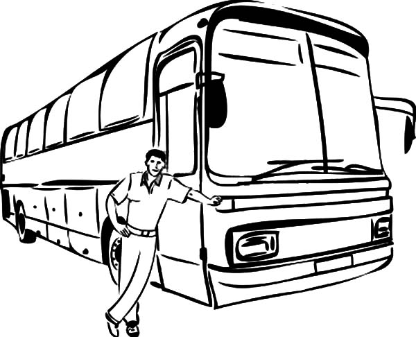 Bus Driver Taking Picture Beside His Bus Coloring Pages