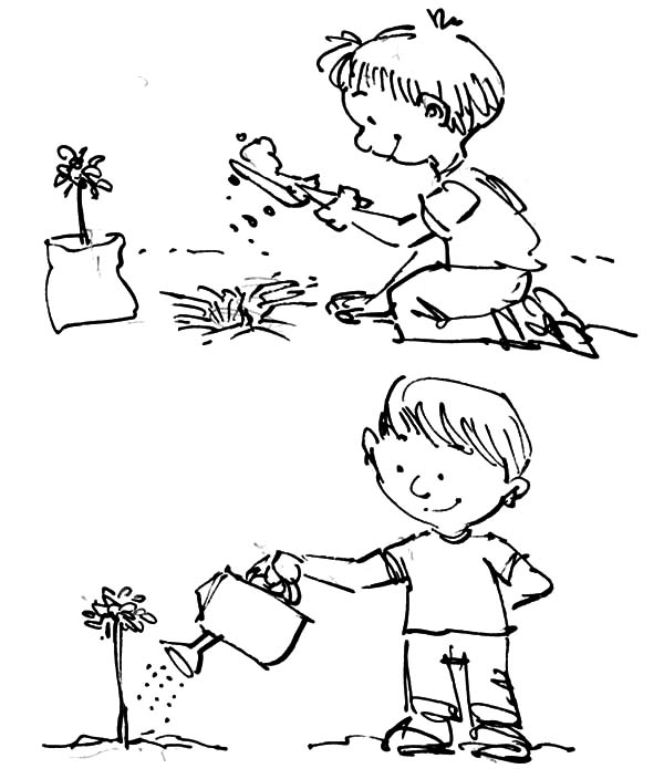 kids planting seeds coloring pages | Plant And Watering Tree On Arbor Day Coloring Pages : Best ...